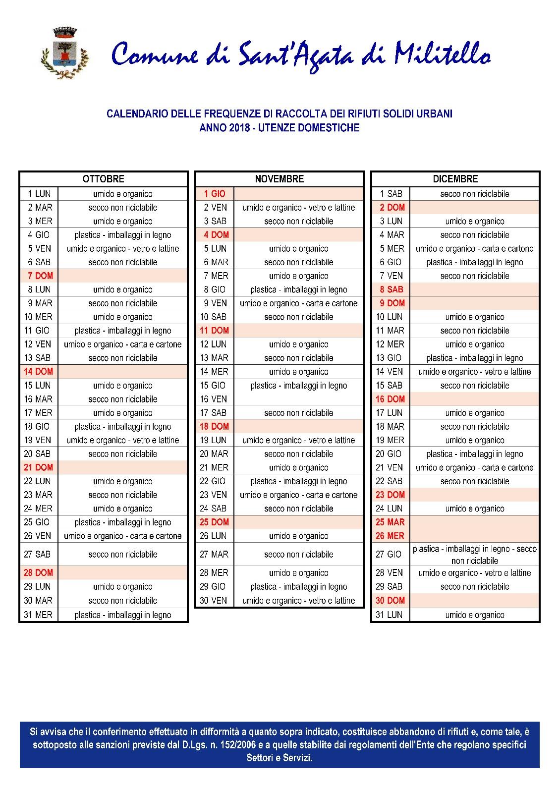 Calendario Rifiuti Santagata Di Militello.Raccolta Differenziata I Calendari Corretti Per Novembre