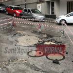 Bomba d'acqua ed allagamenti. Smottamento su via Ragusa.  (Foto e intervista)