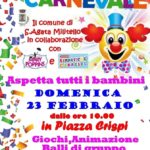 Carnevale dei bambini, domenica mattina festa in piazza.
