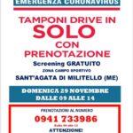 Screening gratuito popolazione. Domenica tamponi drive in a Sant'Agata Militello.
